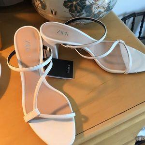 ZARA white sandal heels